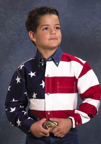 (Roper 03-030-0185-0101 Re Boys Americana Long Sleeve Shirt Red M)