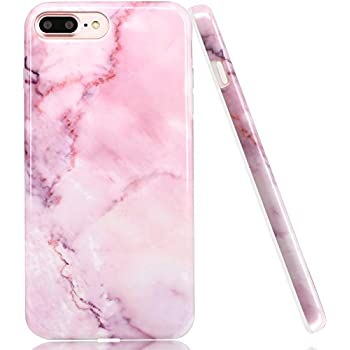 iPhone 7 Plus Case Marble, LUOLNH Baby Pink Marble Design Slim Shockproof Flexible Soft Silicone Rubber TPU Bumper Cover Skin Case for iPhone 7 Plus 5.5 inch