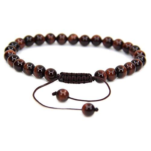 "Natural AA Red Tiger Eye Gemstone 6mm Round Beads Adjustable Bracelet 7"" Unisex"