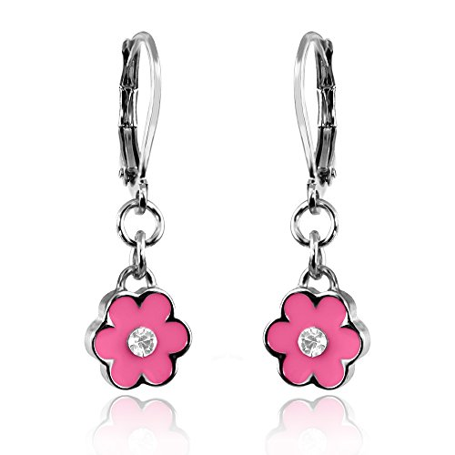 Girls Enamel Flower & Crystal Earrings Rhodium Plated Dangle Earrings Fashion Jewelry for Girls