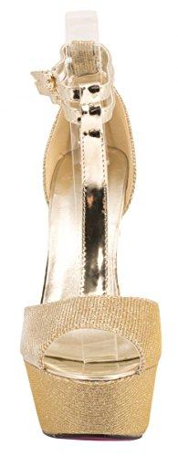 dorado brillantes con correas Plateau Elara tacón Stiletto Party Zapatos Pumps de vq6BwB