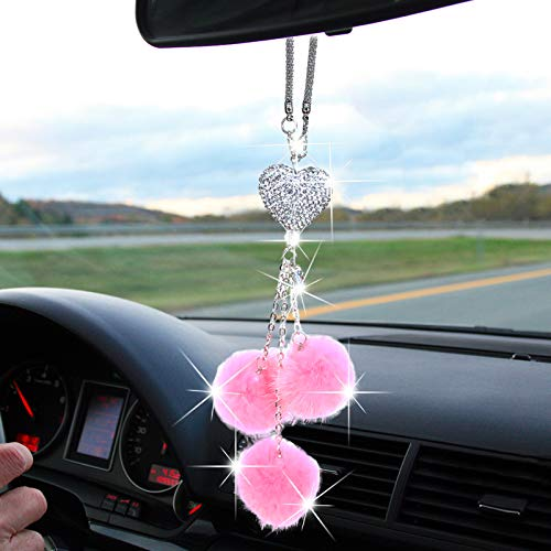 DANUC Bling Car Mirror Accessories for Women Men, Cute Diamond Love Heart with Pink Plush Car Decorations Ornament Pendant Charms for Rear View Mirror, Lucky Crystal Car Rearview Hanging Accessories