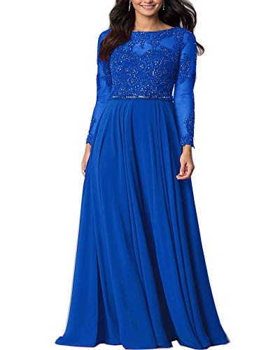 Aofur Womens Long Sleeve Chiffon Party Evening Dress Formal Wedding Prom Cocktail Ladies Lace Maxi Dresses (XXX-Large, Blue)