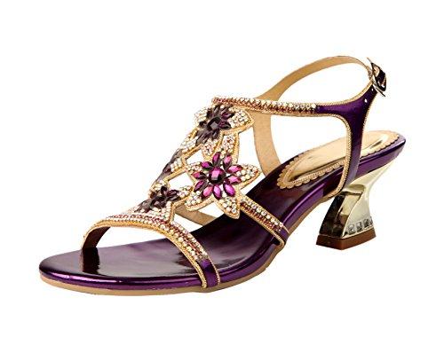 Honeystore Damen Blumen Funkelnde Glitzer Niederiger Absatz Sandalen mit Strass Kristall Schuhe Violett 40 EU A5IP1Sy
