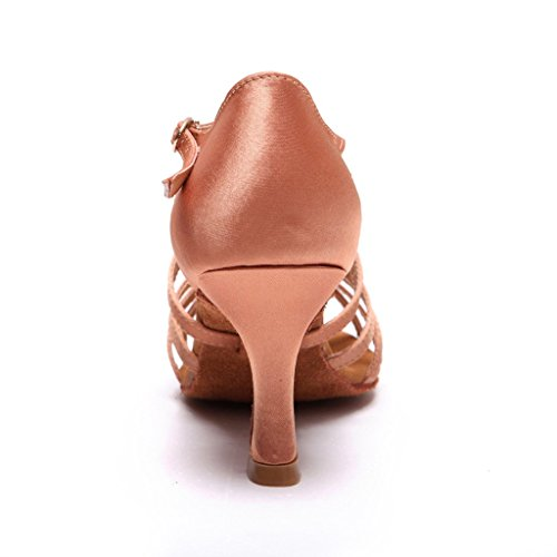 Sandals Open Shoes Salsa Heel Womens 2 with Latin toe Tan 75 Heels Dance Practice Tango BCLN Ballroom w45tqPZ5