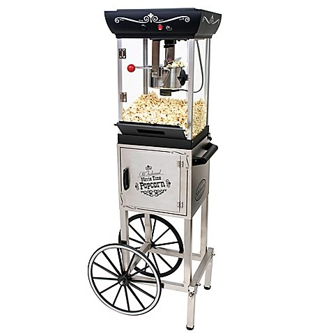 Nostalgia Electrics Vintage Collection 48-Inch 2.5 oz. Kettle Popcorn Cart in Stainless Steel