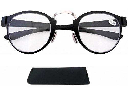 qualite Cadre argentee acier plastique inoxydable Eyekepper et lecture en Lunettes noir de en Vintage Retro 8WnqWg7Y