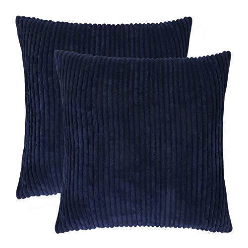 Blue Velvet Stripe - famibay Set of 2,Throw Pillow Covers Velvet Corduroy Cushion Covers 22