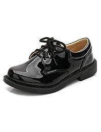 Bumud Kids Boys Leather Oxford Black School Uniform Lace-up Dress Shoe(Toddler/Little Kid)