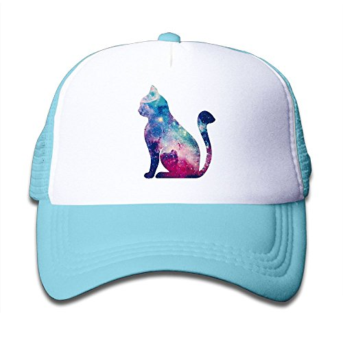 War Wolf Strapback Hat Boys&Girls Color Animation Cat Adjustable Mesh Hat,Child&Youth Unisex Trucker Hat SkyBlue (Cat Hat Trucker)