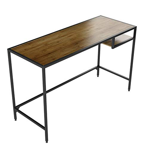 - Industrial Vintage Design Space Saver Entryway Hallway Console Table Desk with Lower Shelf Storage, Wood Top and Metal Black Metal Frame
