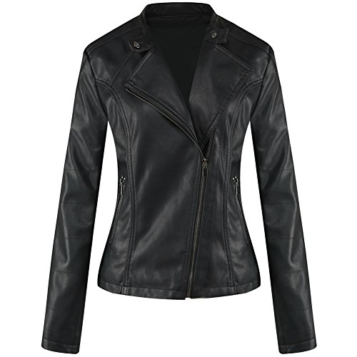 b80b343bd Newbestyle Womens Faux Leather Moto Biker Jacket Oblique Zipper Stand Up  Collar Quilted Coats Black L