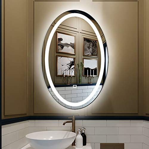 Fumango Wall Mounted Lighted Mirror Oval LED Bathroom,Makeup Vanity Mirror with SmartTouch -