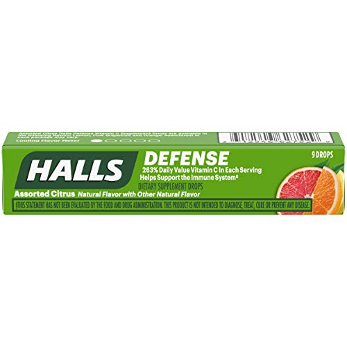 Halls Defense Vitamin C Assorted Citrus, 9 drop packs, (pack of 20)