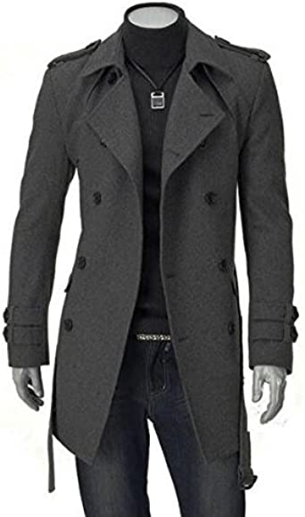 lovever Women Vintage Trench Jacket Double-Breasted Wool Blend Pea Coat Overcoat