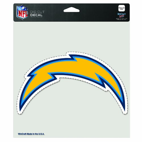 WinCraft NFL San Diego Chargers 8-By-8 Inch Diecut Colored Decal Lightening Bolt