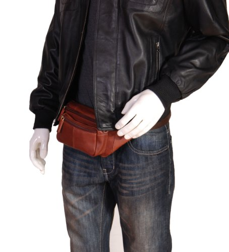 Echtes Leder Taille Bum Bag Slim Reise Geld Tasche Pack Barcelona Braun