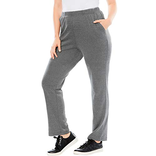 Roamans Women's Plus Size Petite Soft Knit Straight-Leg Pants - Medium Heather Grey, 1X ()