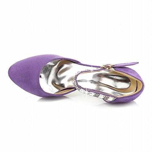 Carolbar Donna Moda Elegante Lucido Strass Fibbia Con Cinturini Cinturino Alla Caviglia Sandali Con Tacco A Spillo Viola (nabuk)