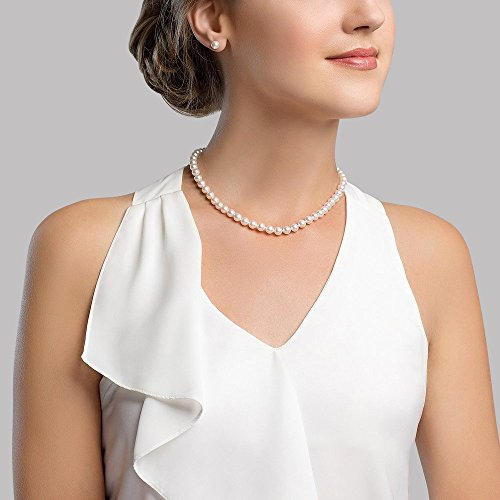 THE PEARL SOURCE 14K Gold AAAA Quality White Freshwater Cultured Pearl Necklace for Women in 24 Matinee Length