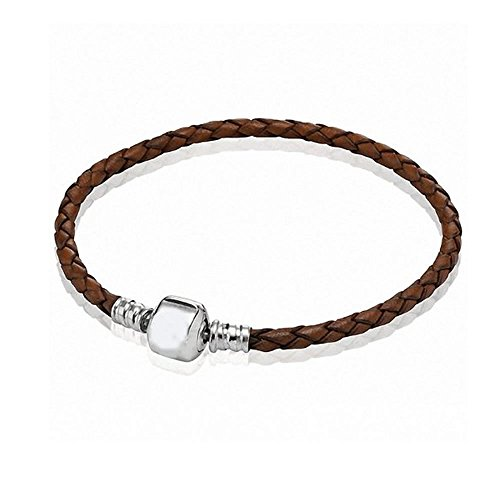 SEXY SPARKLES One Brown Real Leather Bracelet Fit Beads European Chamilia, Zable, Carlo Biagi Drop-Down Menu (6.5 Inches)