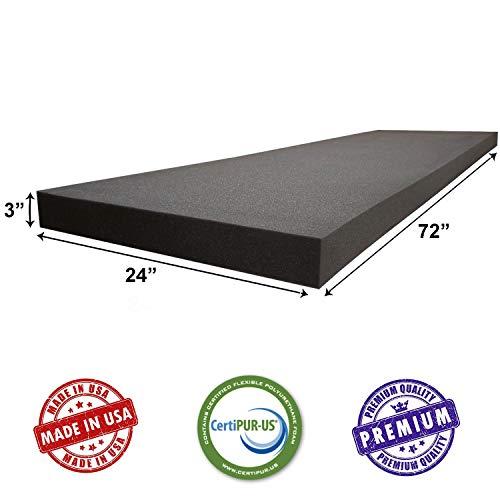AKTRADING CO. CertiPUR-US Certified Charcoal Rubber Foam Sheet Cushion (Seat Replacement, Upholstery Sheet, Foam Padding, Acoustic Foam Sheet) - 3