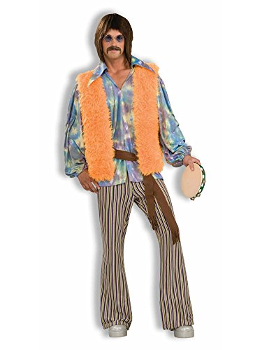 Men's 60's Groovy Singer Costume, Multi-colored, One -