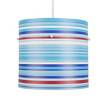 Modern Blue, White And Red Striped Cylinder Ceiling Pendant Light ...