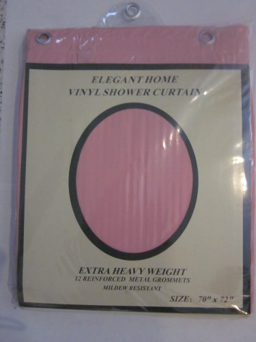 RL Plastics Heavy Duty Vinyl Shower Curtain with Metal Grommets, Pink
