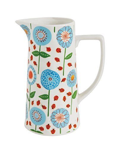 Creative Co-Op Blue & Red Floral Stoneware Pitcher