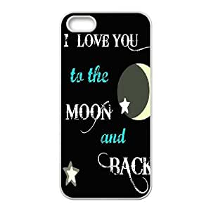 wugdiy DIY Case Cover for iPhone 5,5S with Customized I love you to the moon and back
