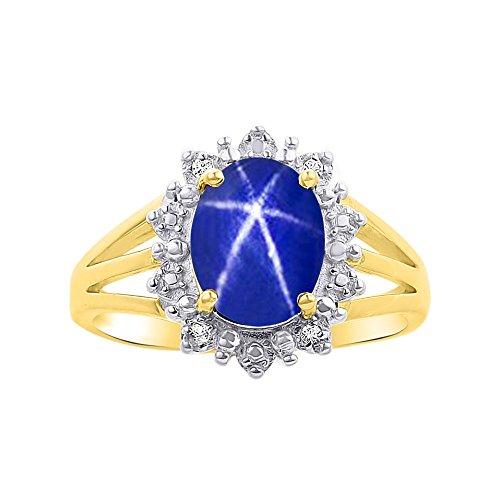 Diamond & Blue Star Sapphire Ring Set In 14K Yellow Gold - Princess Diana Inspired Halo Desginer