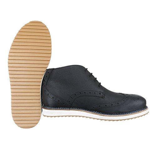 Ital-Design Stiefeletten Herren Leder Schuhe Chelsea Boots Schnürer Schnürsenkel Boots Schwarz