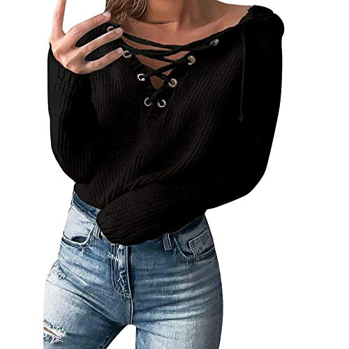 URIBAKE ❤️ Women's Hooded Sweater Lace Up Collar Coat Knitted Oversized Ladies's Elegant Jumper Tops from URIBAKE