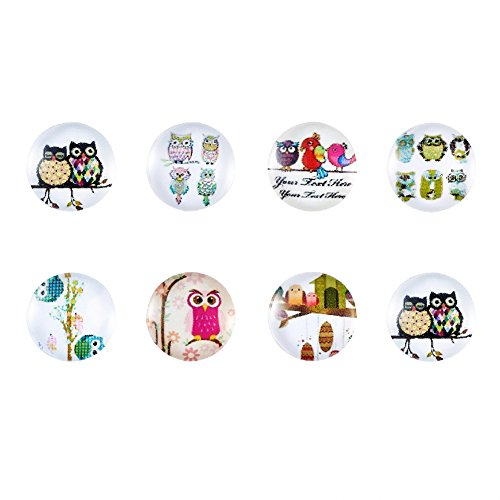 Beadthoven 10pcs 12mm Mixed Style Owl Pattern Half Round Printed Glass Cabochons for Handmade Earring Charms Necklace Pendants Home Decoration Crafts Supplies]()