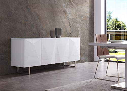 Kitchen Whiteline Modern Living Paul Buffet/Sideboard in High Gloss White or Grey with Designs on Doors and Brushed Nickel Legs modern buffet sideboards