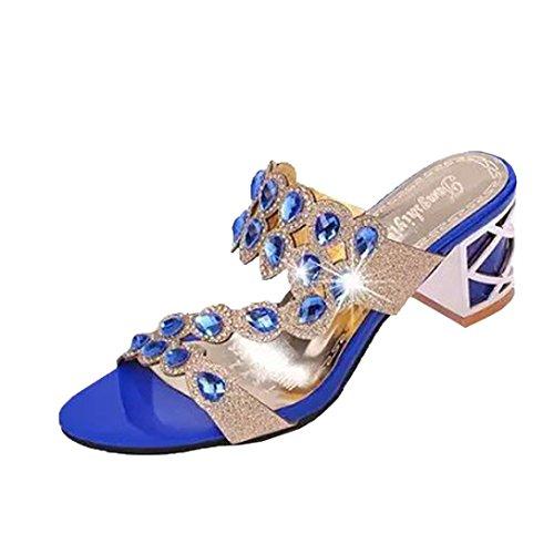 ❤️ Sandales Femme,Été Chaussures Sandales Nouvel Été à la Mode Dames Plage Sandales Femmes Grandes Strass Sandales à Talons Hauts by LHWY Bleu