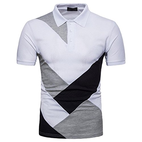 GREFER Men's Slim Button Patchwork Short Sleeve Polo Shirt T Shirt Top Blouse (L, White)