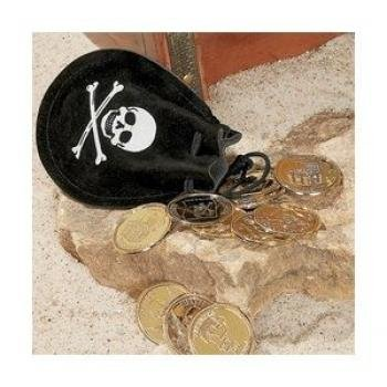 One Dozen (12) Pirate Drawstring Bags with Gold Coins
