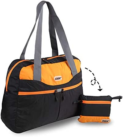 GOX Travel Foldable tote Bag, Tear resistant Duffle Bag, Lightweight Multipurpose Black Tangerine