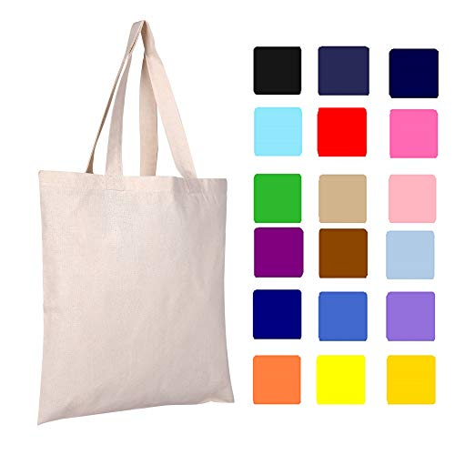 2 DOZEN (24-PACK) BagzDepot 100% Cotton Tote Bags, 6oz. Fabric Flat Bottom Wholesale Plain Tote Bags, Reusable Grocery Bags, Arts and Craft Bags Supply (MIXED-ASSORTED-COLORS) - Wholesale Canvas Tote Bags