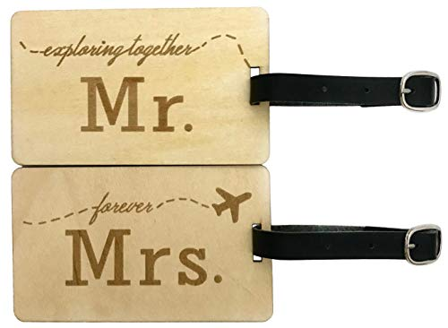 Mr Mrs Wooden Luggage Tags Travel Cute Couples Gift - 2 Pack (And Hers Sunglasses His)