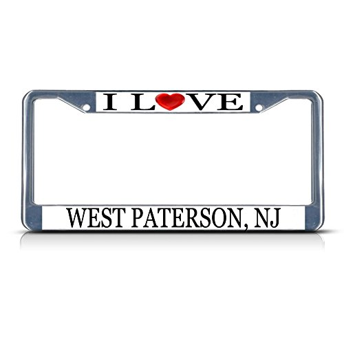Sign Destination Metal License Plate Frame Solid Insert I Love Heart West Paterson, Nj Car Auto Tag Holder - Chrome 2 Holes, Set of 2]()