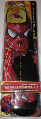 - Spiderman 2 6 in 1 PSP Starter Kit (Inc: 2 UMD Cases, Neck Strap, Screen Wipe, 1 Spare Analogue Stick, Protective Cover, Car Charger)