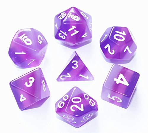 HD DND Dice Set RPG Purple Polyhedral Dice for Dungeons and Dragons(D&D) Pathfinder MTG Table Game Role Playing Game Translucent Dice with Silver Glitter