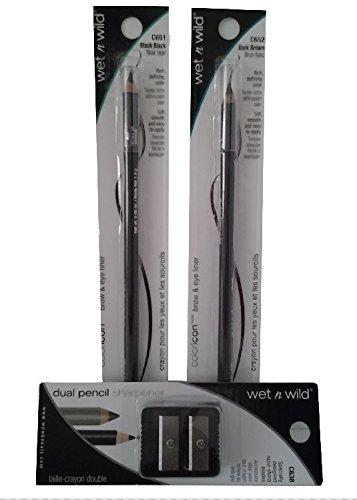 wet-n-wild-brow-eye-liner-pencils-black-651-and-dark-brown-652-with-dual-pencil-sharpener-bundle