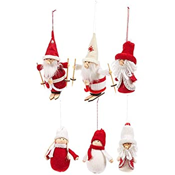 Set of 6 christmas tree ornaments rustic for Sia home fashion christmas decorations