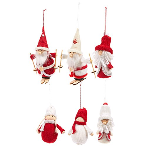 Juvale Set of 6 Christmas Tree Ornaments - Rustic Holiday Figures, Old Fashioned Christmas Decorations, Xmas Ornaments, Red and White - 5.5 x 3.5 x 4 Inches