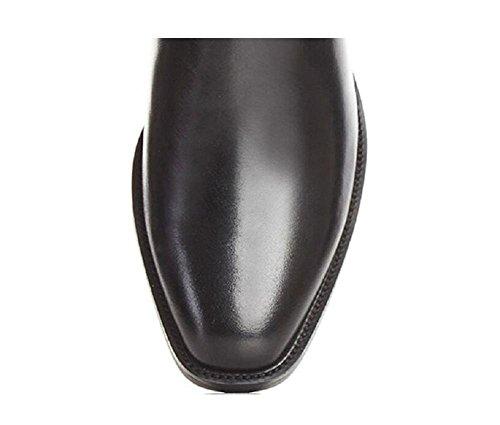 Martin pelle Belt Buckle stivali stile di spessi Boots Tacchi britannico Stivaletti punta con donne di temperamento Rivet 37 decorata a qx1wr4q0T
