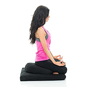 Awaken Higher Self LLC Awaken Meditation Hand/Machine Washable Round Zafu Zabuton Yoga Mat & Cushion Set Filled with Buckwheat - 100% Cotton (Black)